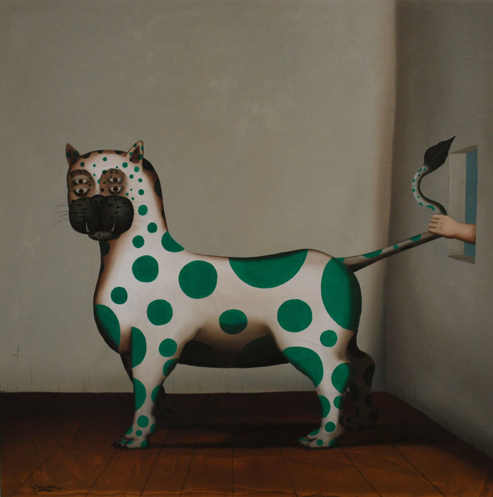"El Gato, Oil on Panel w/ resin 28"" x 28"""