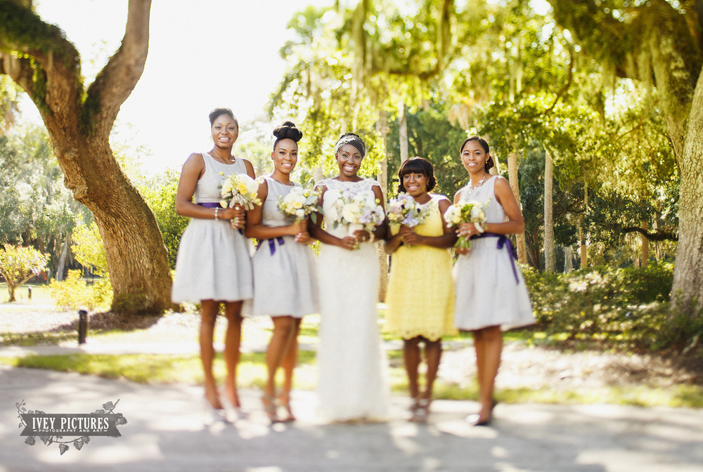 Tilt shift bridal party photo