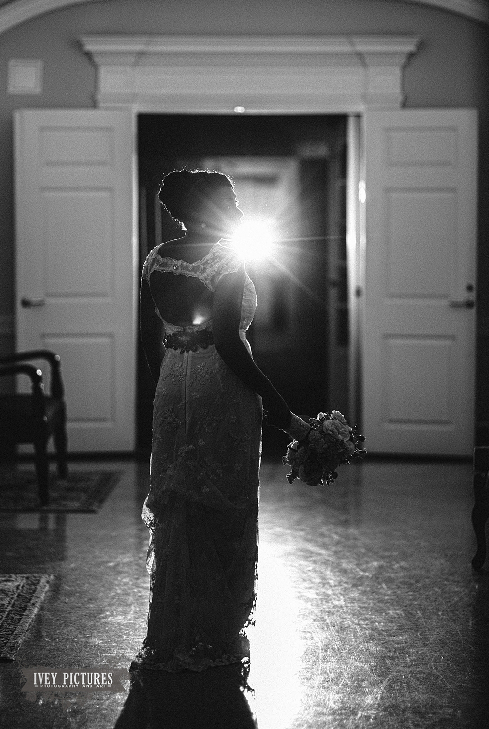 Black and White Creative Bridal Portrait