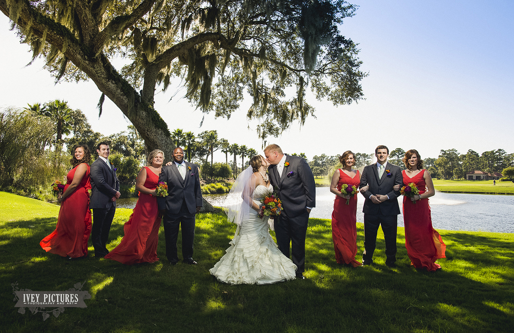 wedding party group photo at TPC Sawgrass Ponte Vedra Florida