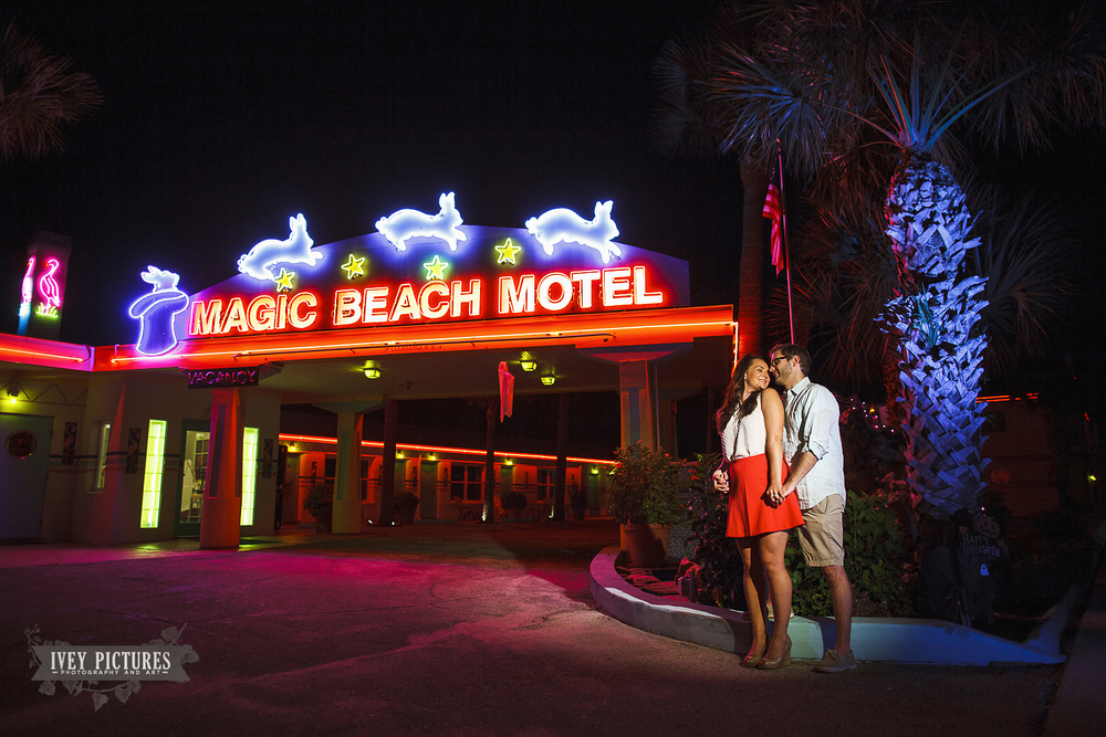 Magic beach hotel engagement session