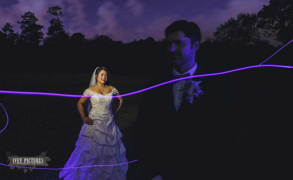 light painting portrait at wedding