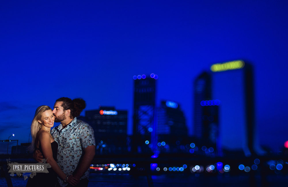 Downtown Jacksonville Southbank Engagement Photo