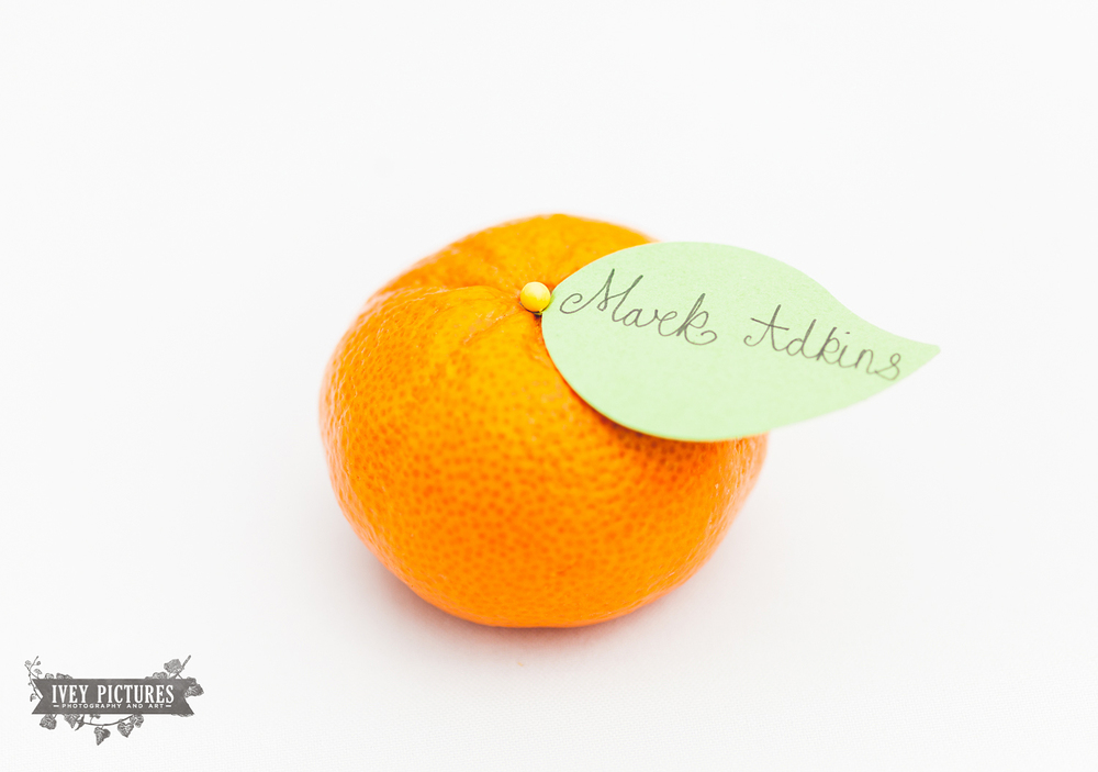 Wedding name tag ideas with oranges