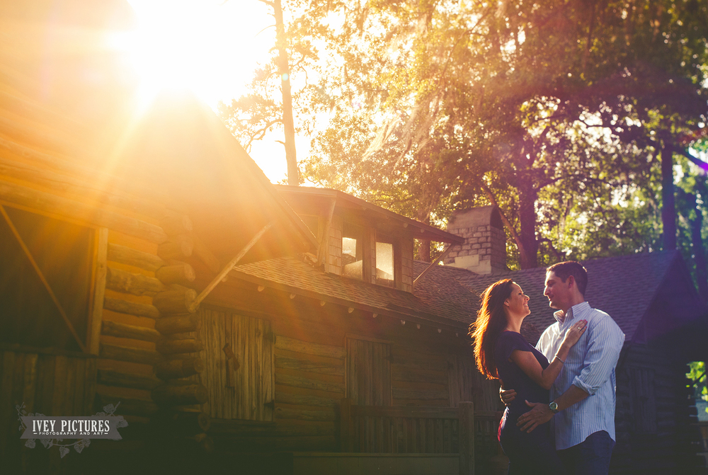 beautiful lens flare at engagement session