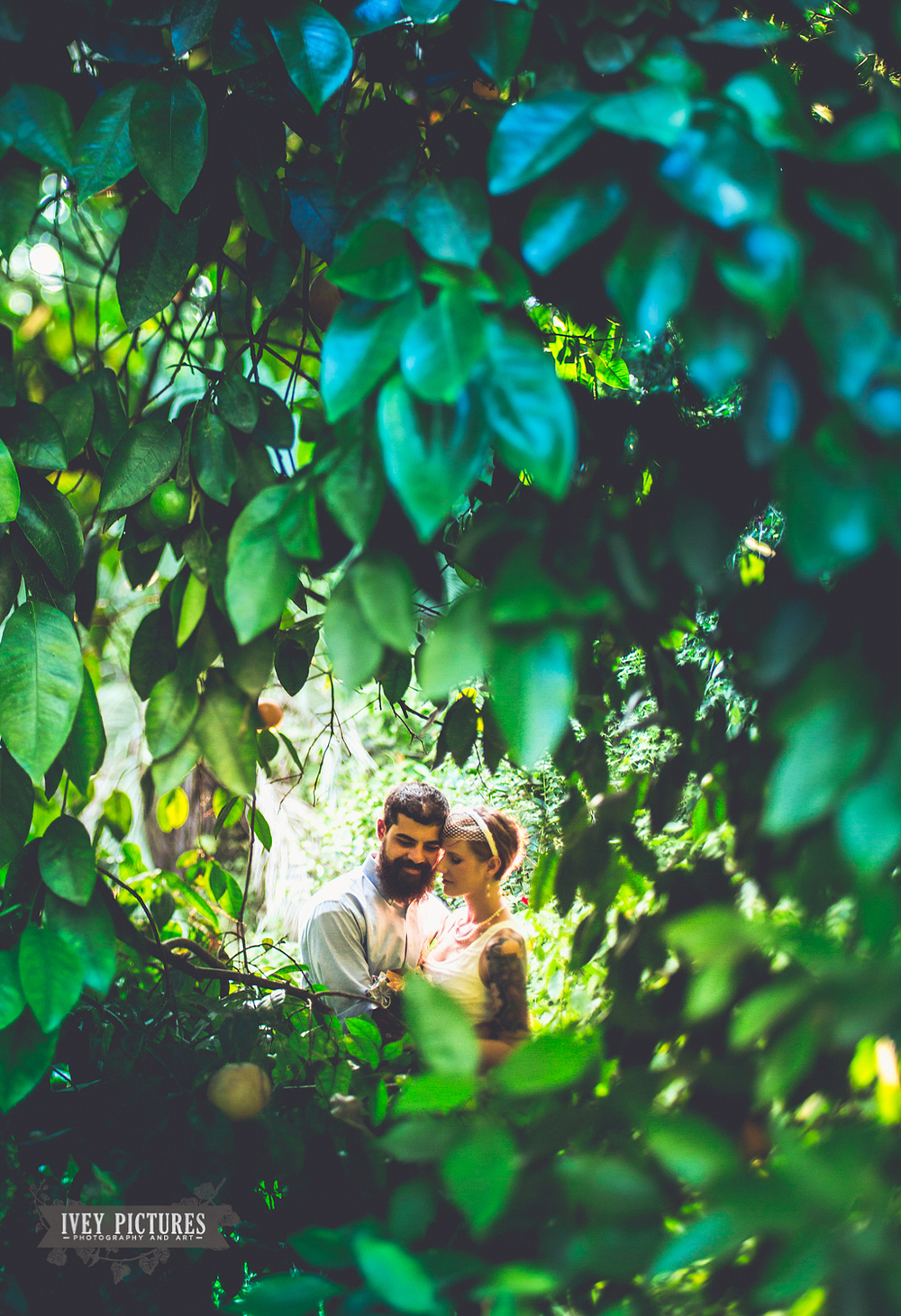 wedding photo through orange tree