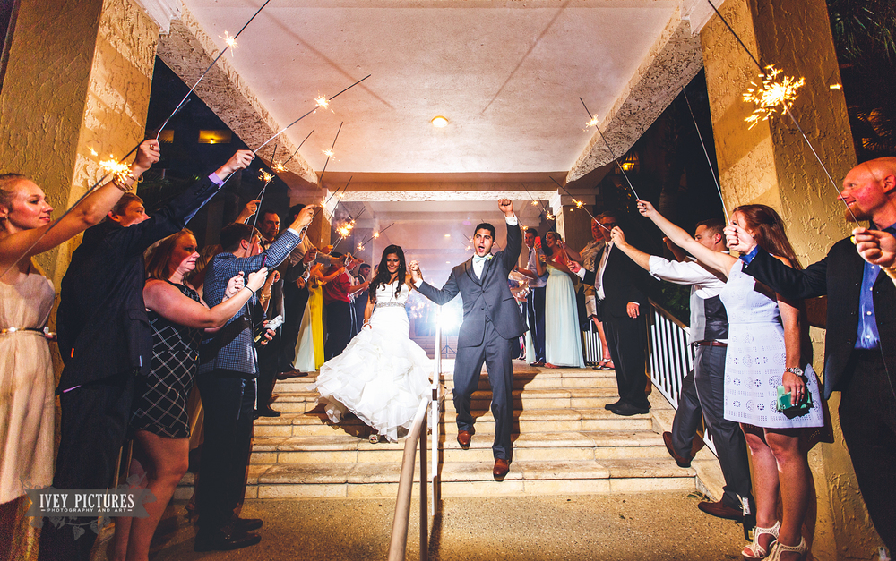 reception exit with sparklers at the omni amelia island