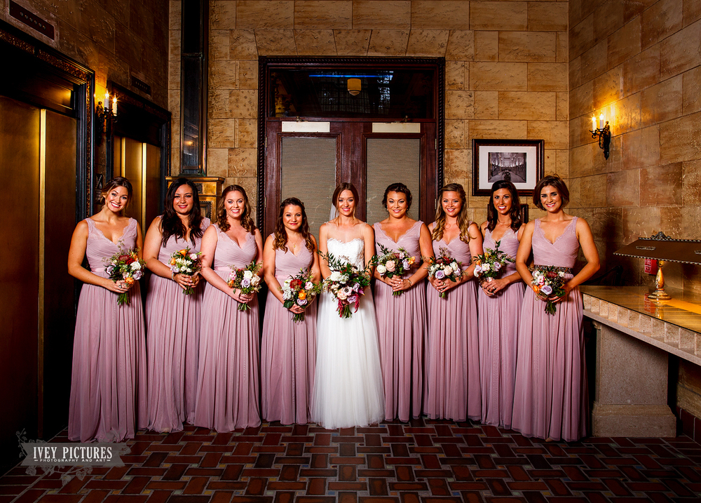 Bridal party at the Treasury on the Plaza