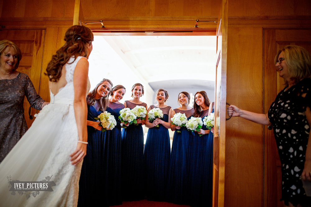 bridesmaids seeing bride first look