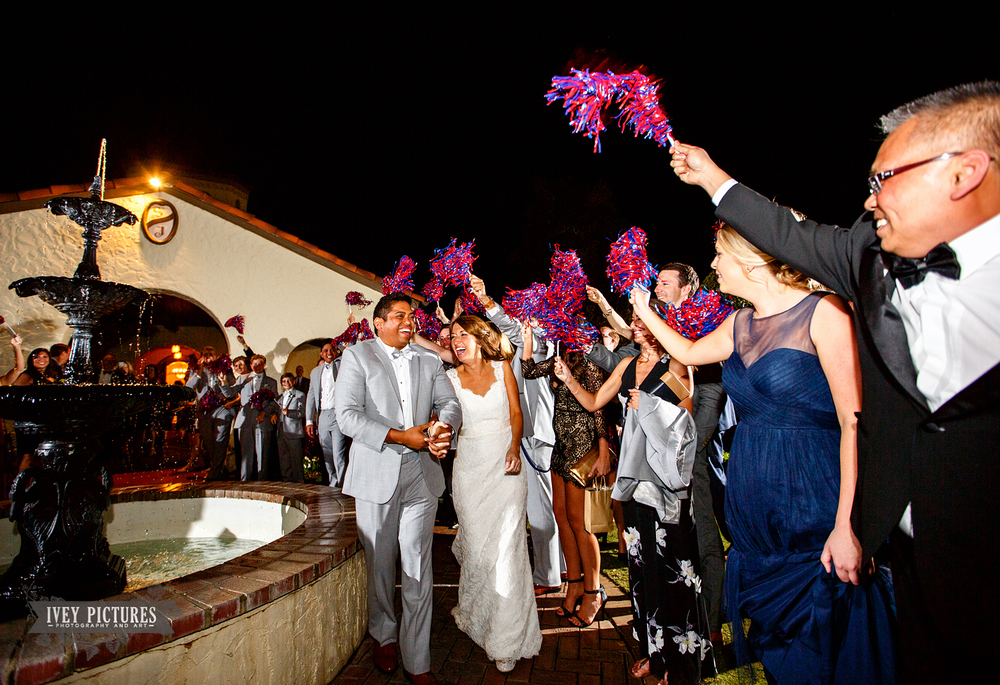wedding exit with pompoms