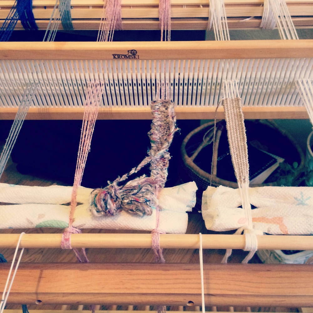 Necklaces warped on the new Harp Forte using cotton, silk and a cashmere blend.