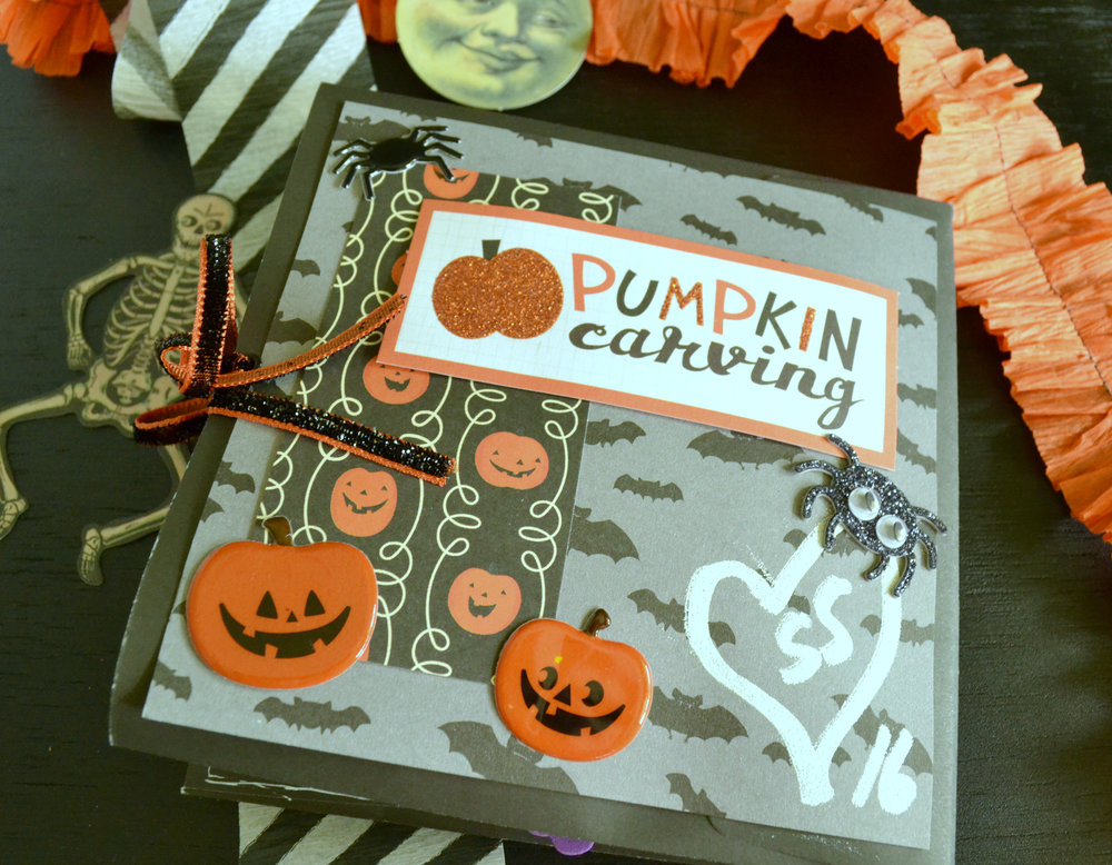 These Pebbles puffy stickers are so cute. The little faces on those pumpkins make me squeal! The back of this is a little reminder of the year we carved pumpkins together.
