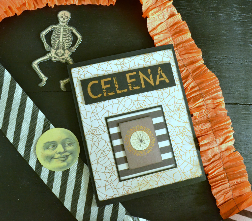 """Celena is eighteen and I wanted her card to feel more """"grown-up"""". I used regular blank cards (from Michaels) instead of envelopes for her. The alphas are rub-on letters I bought at Tuesday Morning. This was my first attempt at using these sort of decals and they were actually pretty easy."""
