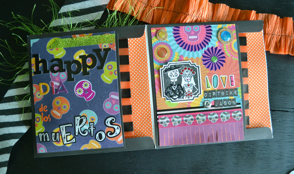 I love being able to incorporate bright colors into the card while still using Halloween stuff too.