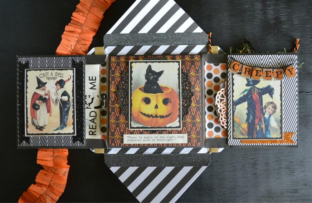 "I bought these vintage Halloween cut-aparts from my local scrapbook shop. They're from the Authentique ""Mysterious"" Collection. I love the texture and quality of the paper too, it feels really luxurious."