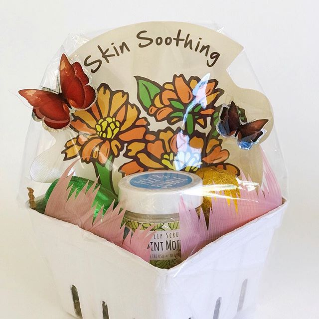"A small cardboard ""fruit basket"" and some #pastel #sushigrass from @daiso_usa make a cute #adulteasterbasket filled with lip scrub and a face mask. 3-D butterfly stickers from @dollartree 🦋 . . .  #giftwrappingideas #giftwrapping #giftwrapped #prettypackaging #prettygift #giftwrap #customgift #easterbasket  #giftpluswrap #giftbasket #giftideas"