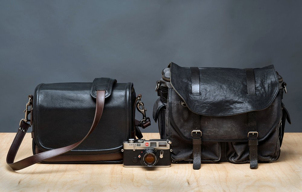 The Wotancraft Ryker (L) and charcoal black Avenger (R) camera bags