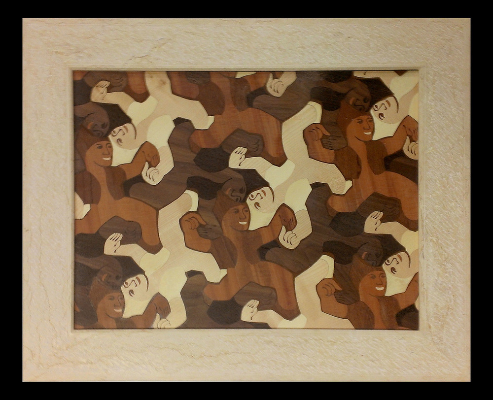 Marquetry Panel with Halila Limestone Frame
