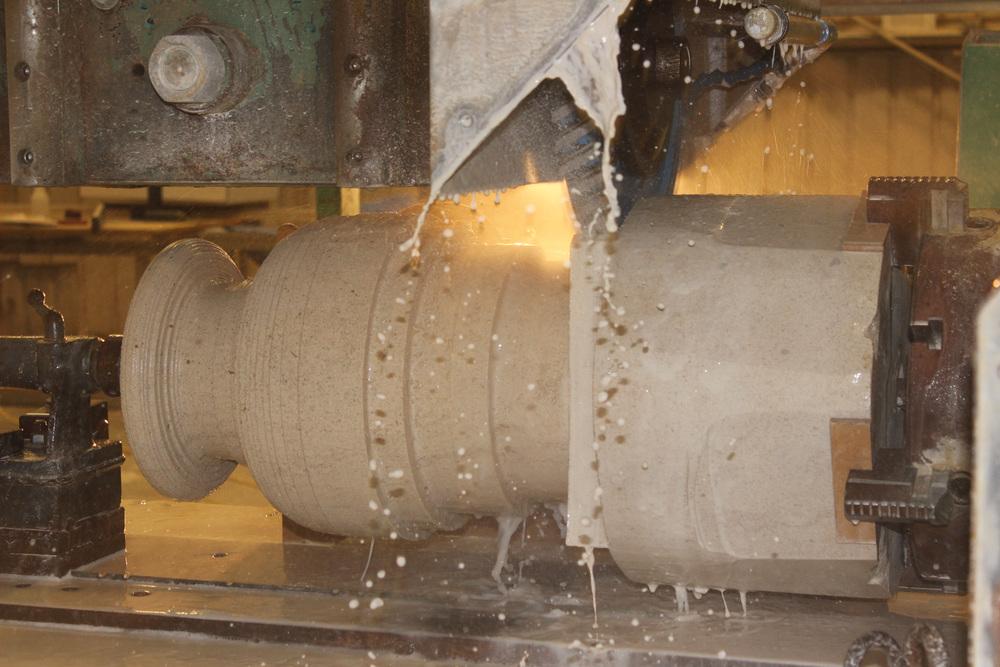 Turning a Limestone Pedestal