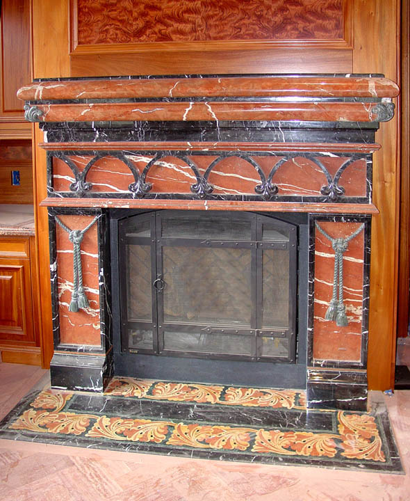 pietra dura fireplace surround in various marbles