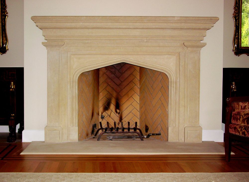 fireplace surround in limestone