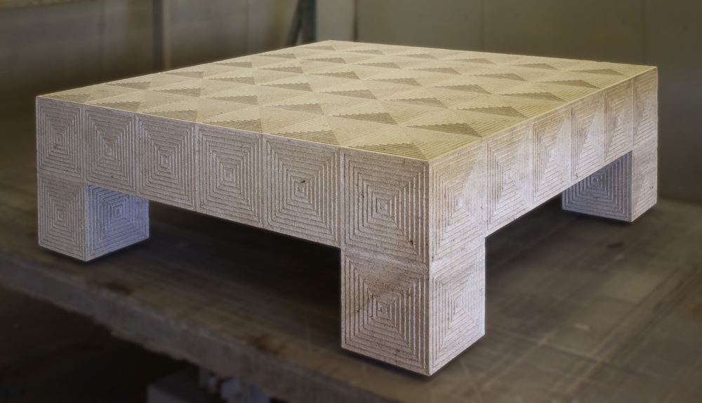 Beaumaniere Limestone Table With Carved Geometric Pattern