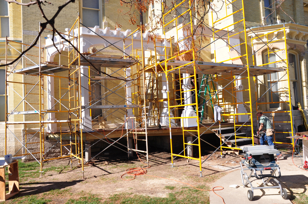 Progress shots of the porch reconstruction