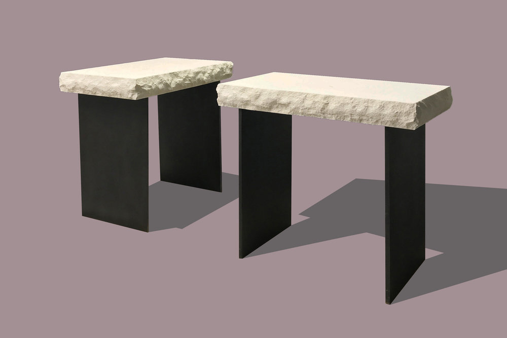 Limestone/Steel Side Tables