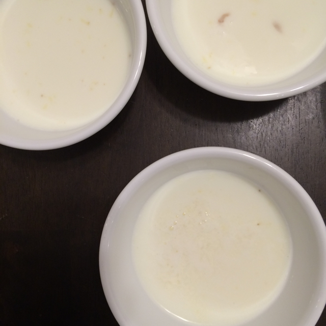pour heated milk into ginger juice