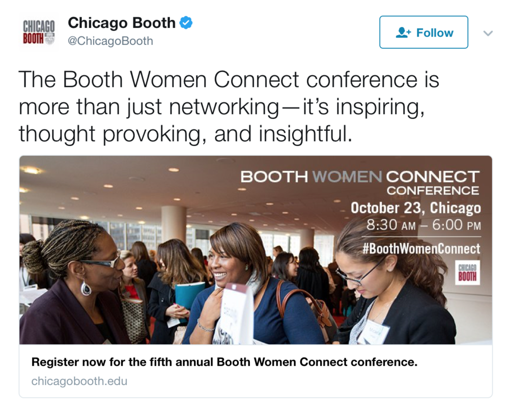 social media - Copywriter for tweets used to promote the conference on Chicago Booth's social channels.