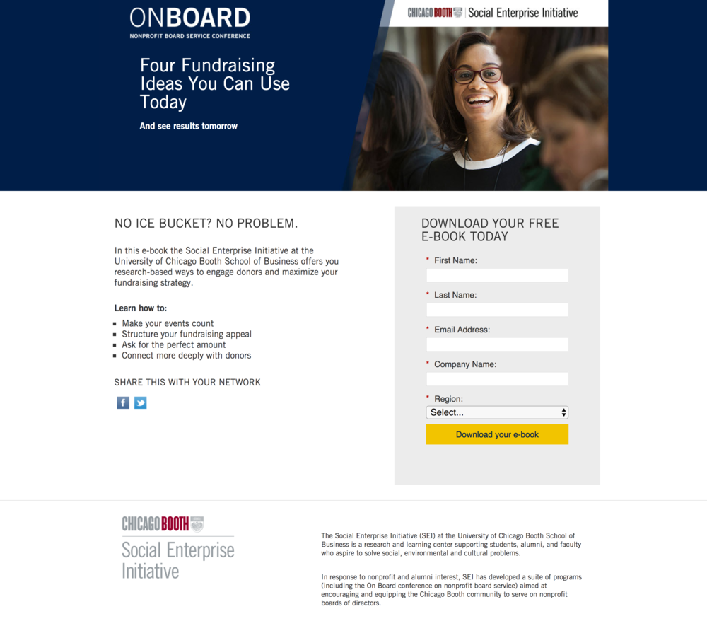 lead generation landing page - This landing page goal was to get email and contact information from visitors to be added to the SEI email database.