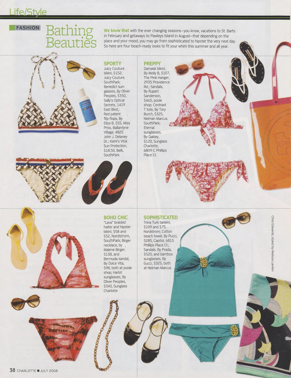 Charlotte Magazine Bathing Beauties