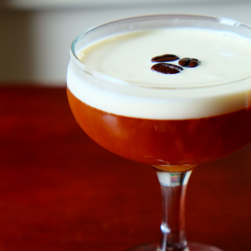 Coffee Cocktail with rum, Grand Marnier, coffee syrup, and cream