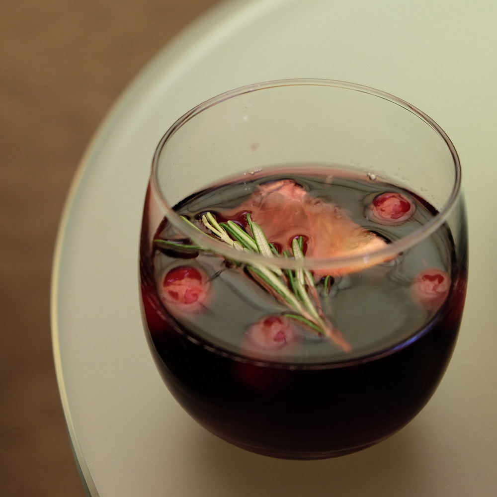 Homemade Sangria with Cranberries and Rosemary