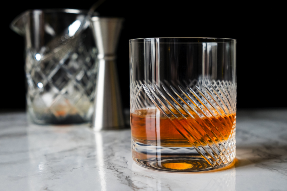 Sazerac Cocktail; Glassware provided by Rolf Glass