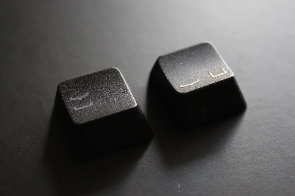 Left: Ducky Shine 5, Right: Steelseries 7G