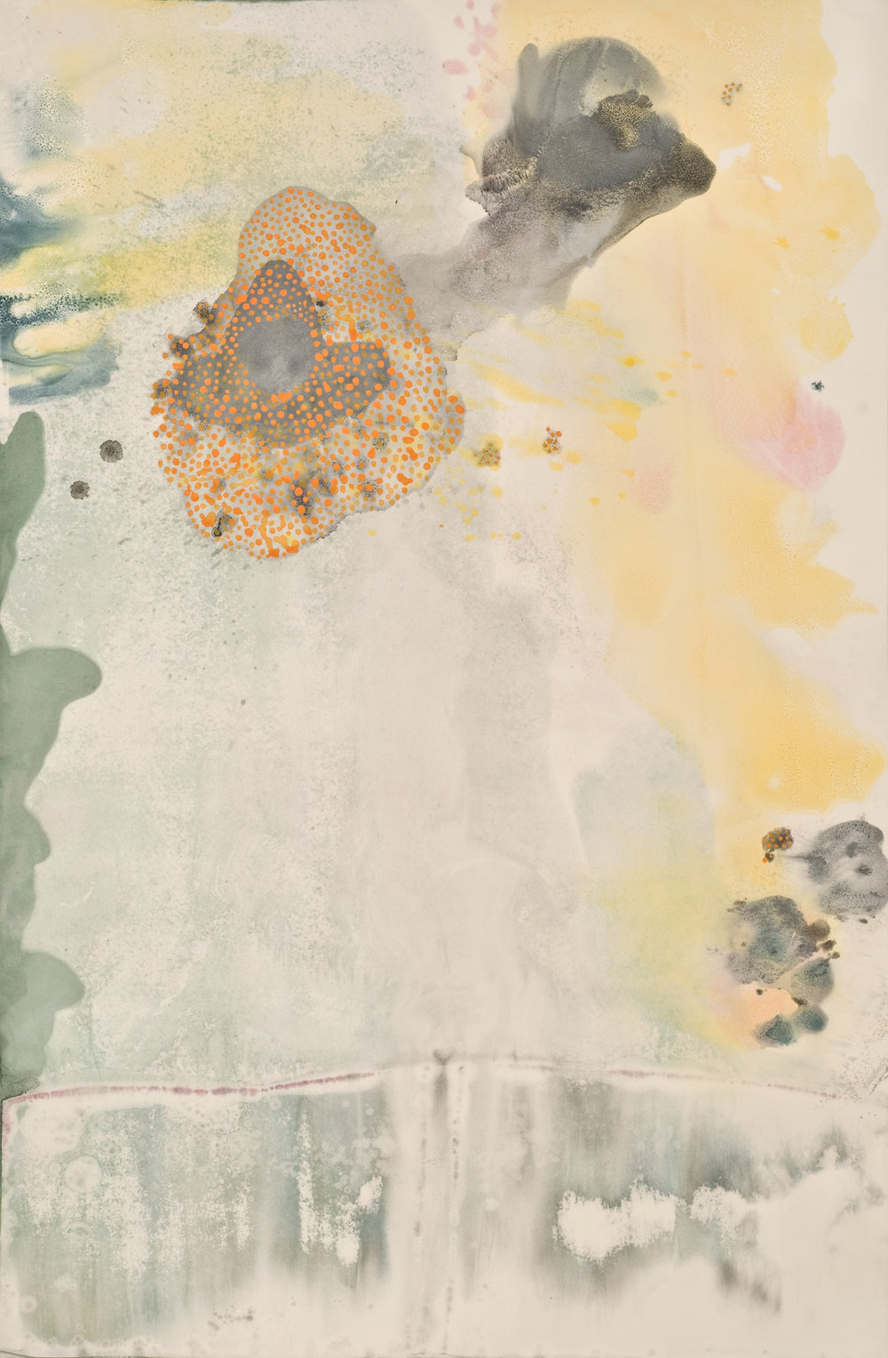 Untitled 18 ,2012  oil on paper monoprint, acrylic  60 x 40 inches  Wildwood Press