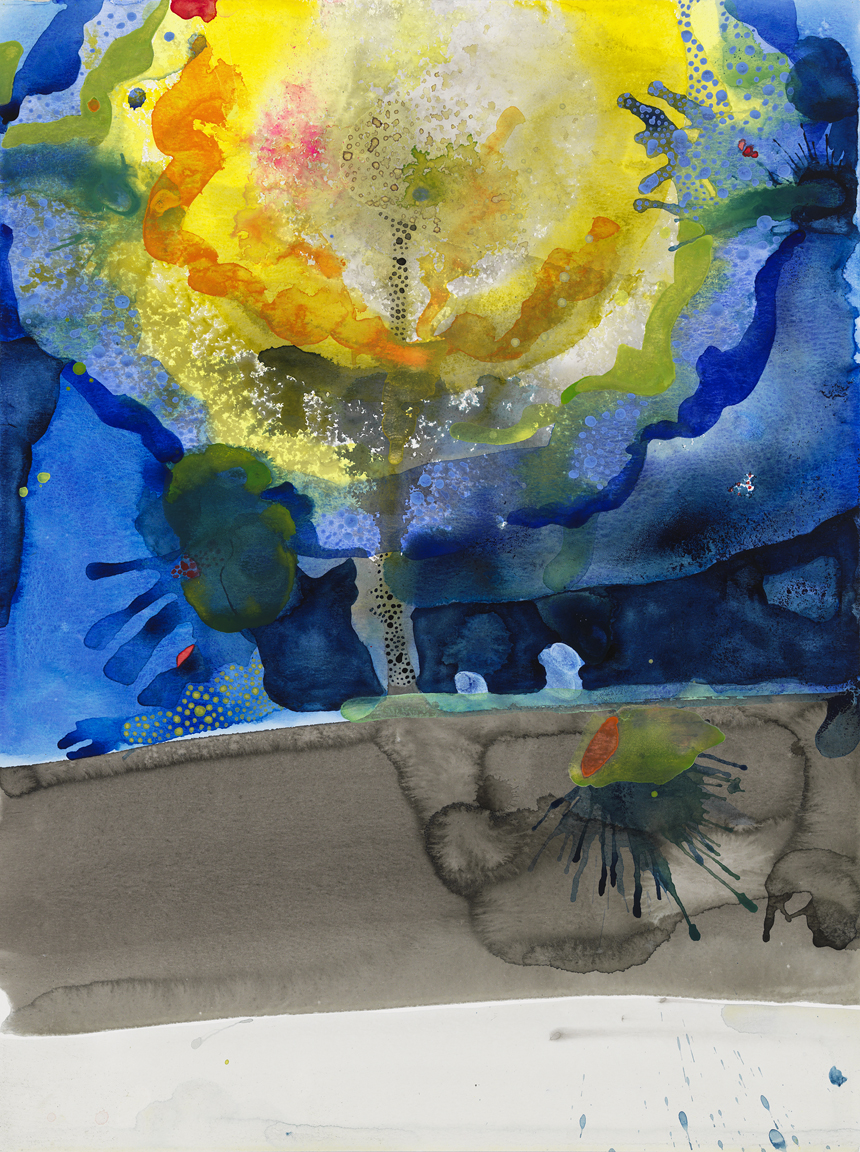 "Every There 14,  2016  Watercolor and sumi ink on paper  24"" x 18"""