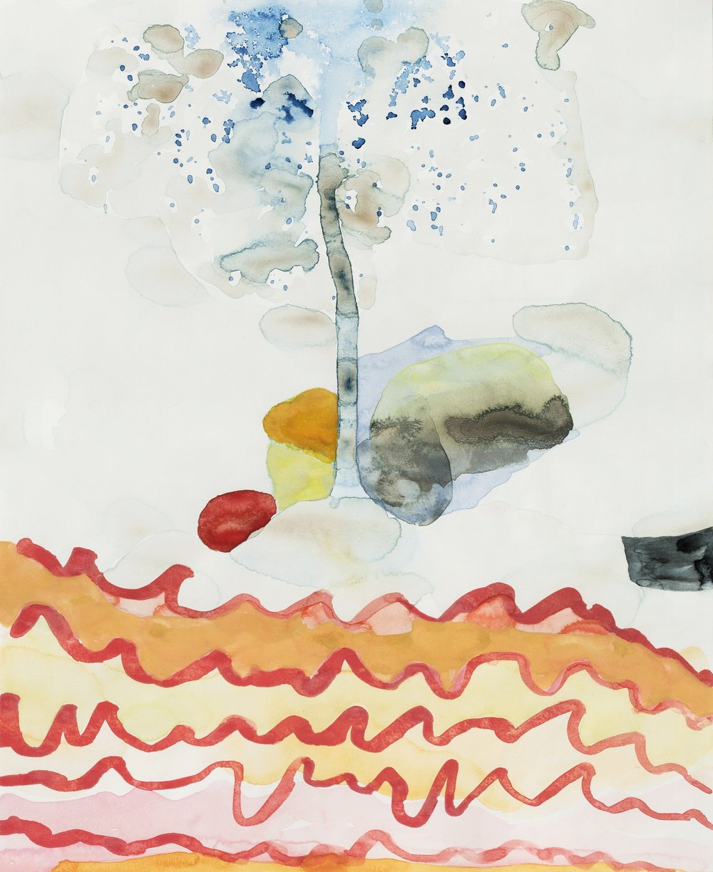 "With Many Turns and Windings 12,  2013  Watercolor and sumi ink on paper  17"" x 14"""