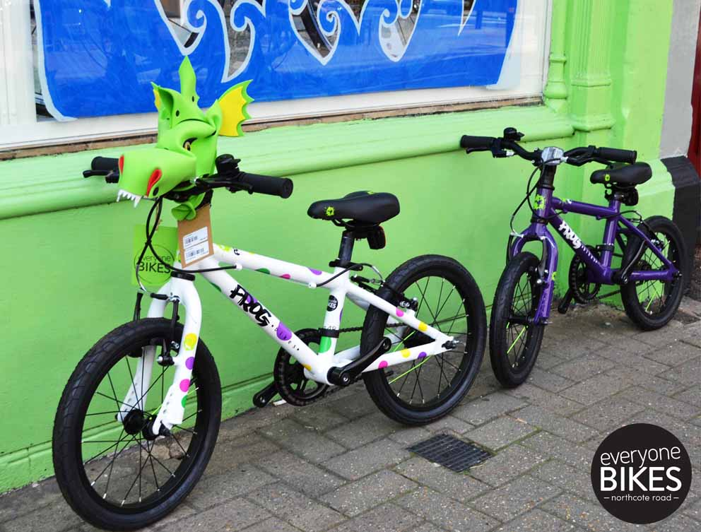 Frog 48 Spotty £185 with Handlebar Hero Dragonasaur £12.50, Frog 43 Purple £185