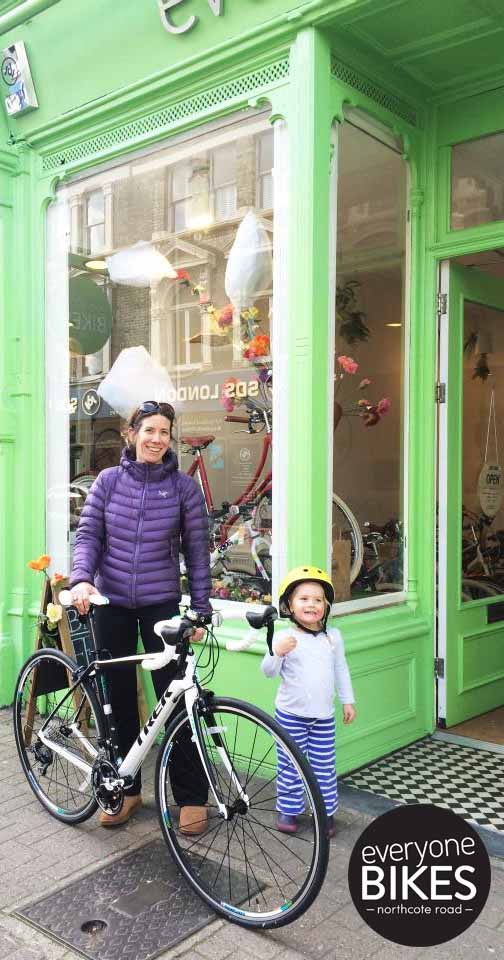 HAPPY MUM CATHERINE WITH HER NEW TREK DOMANE 4.3 & ADORABLE LITTLE GIRL.