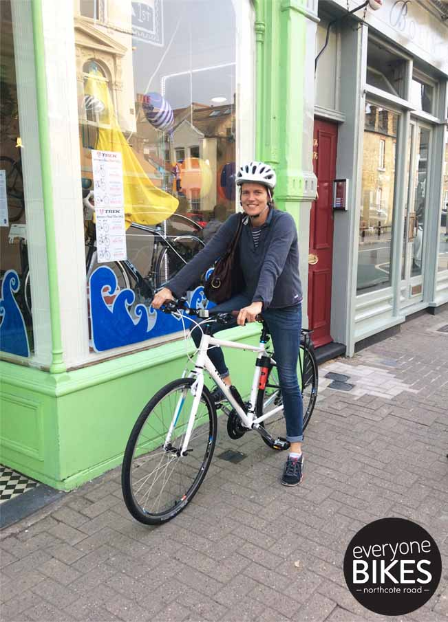 This is Gerlinde & her new Trek Bicycle 7.2FX WSD & Bontrager helmet.