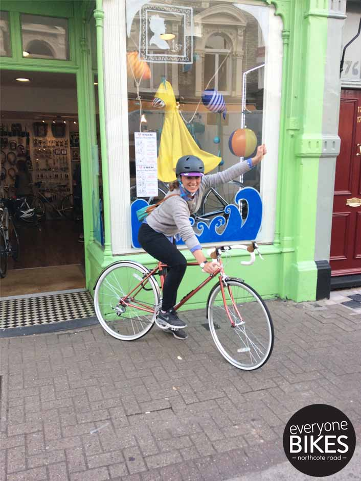 A VERY happy Cara with her new Bobbin Bicycles Girl Scout & Bern helmet.