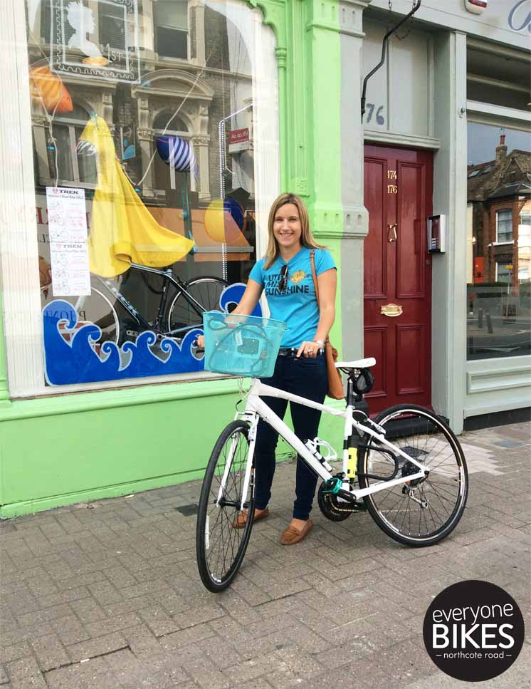 Here's Kelly with her new Trek 7.3FX WSD. Loving those green pedals, have fun Kelly!