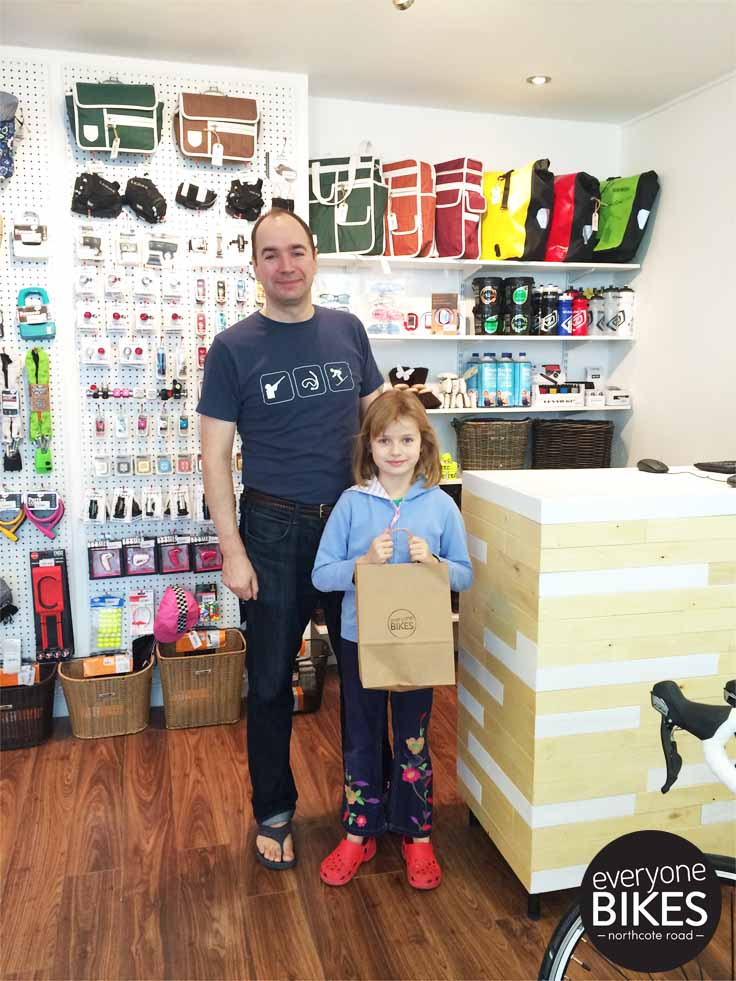 Our FIRST SALE EVER! An amazing daughter-daddy duo, James and Madeleine. This little lady got herself a lock & lights for her bike.