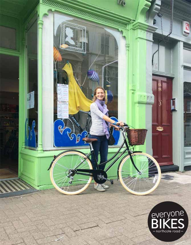 The lovely Charlotte with her new Bobbin Bicycles Metropole.