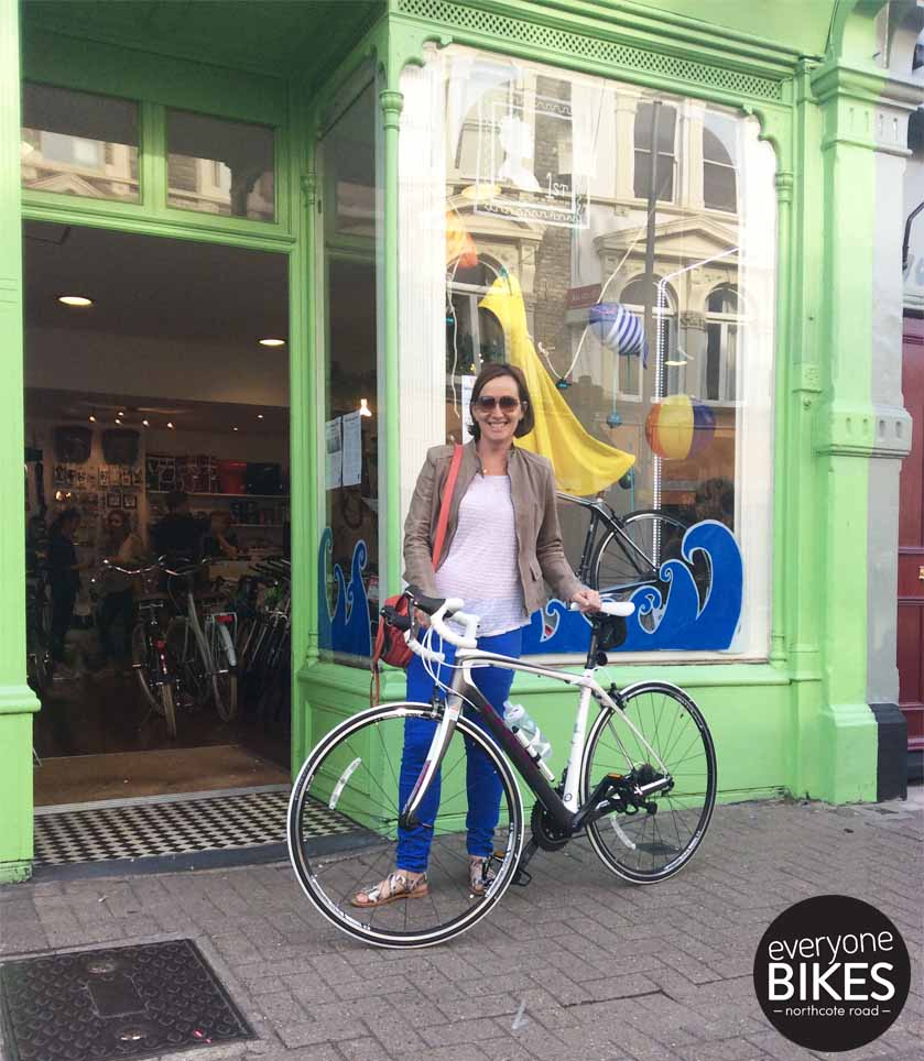 Someone got an amazing new road bike today! Check out Sam & her Trek Bicycle Domane 4.7 WSD. HAVE FUN!