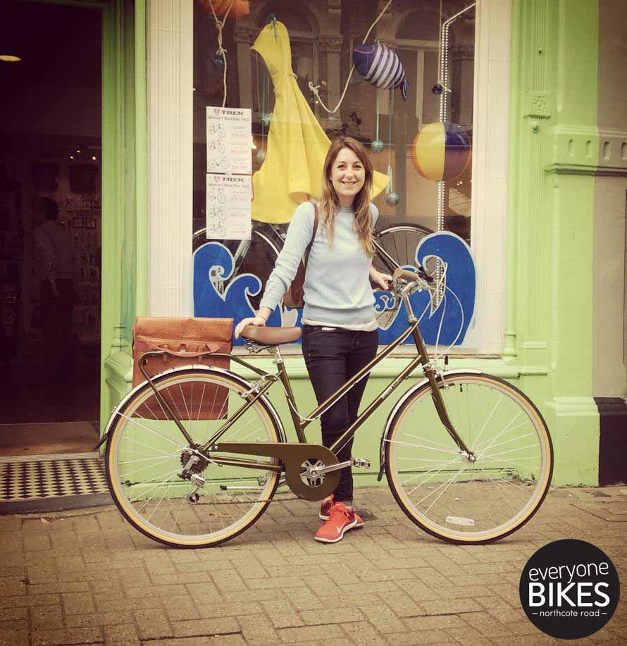Happy Hannah with her shiny new Bobbin Bicycles Bramble and Straw Pannier Bag.