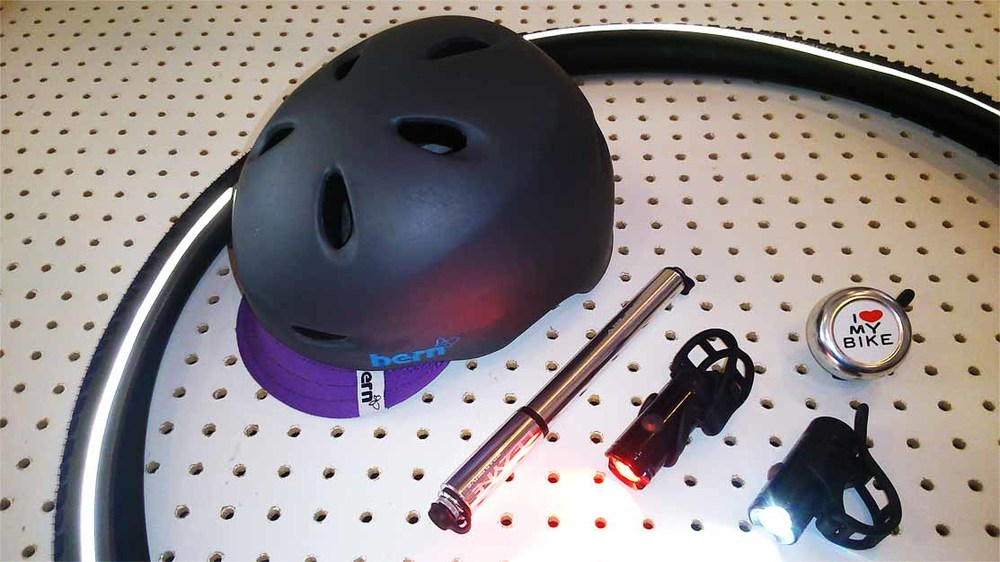 Bern Berkeley Helmet, Lezyne Micro Drive Lights & Road Drive Pump, I Love My Bike Bell and Bontrager Hard Case Tyre