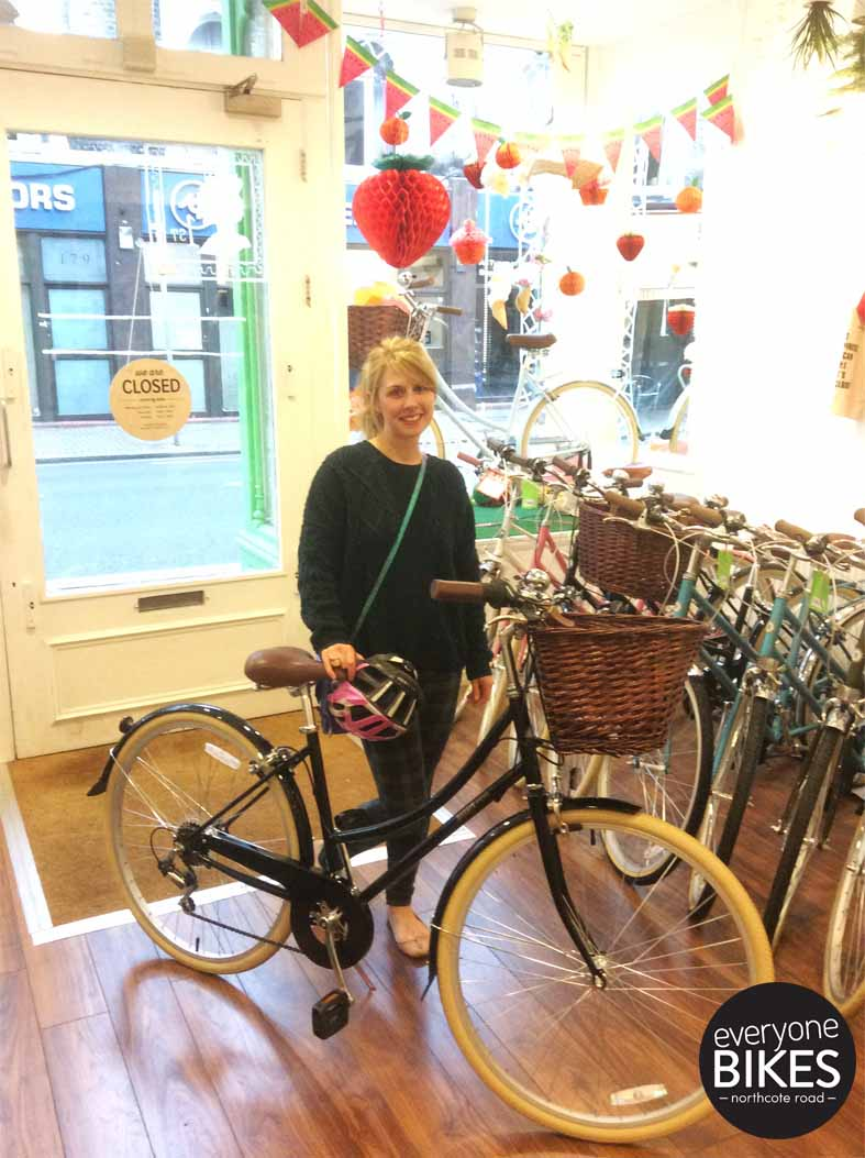 Emma with her new Bobbin Bicycle Metropole in Gloss Black!